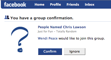 A person named 'Wendi Peace' wants to join a Facebook group called 'People Named Chris Lawson'.