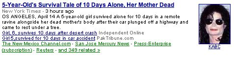 Michael Jackson-Google News mixup
